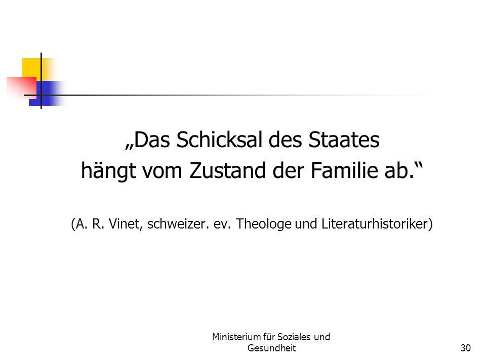 Ministerium für Soziales und Gesundheit30 Das Schicksal des Staates hängt vom Zustand der Familie ab. (A. R. Vinet, schweizer. ev. Theologe und Litera