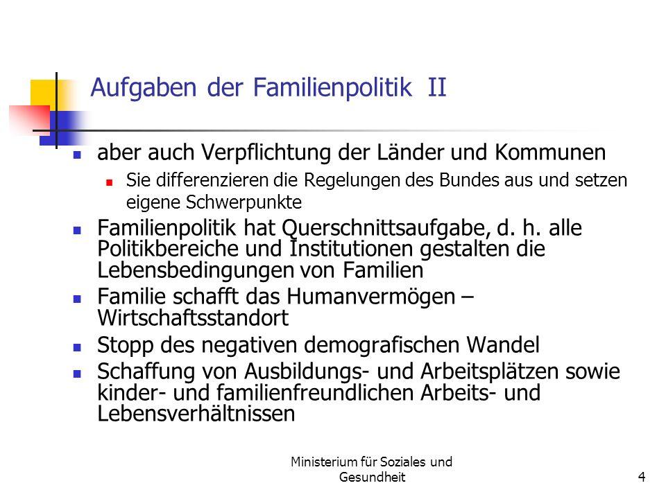 Ministerium für Soziales und Gesundheit4 Aufgaben der Familienpolitik II aber auch Verpflichtung der Länder und Kommunen Sie differenzieren die Regelu