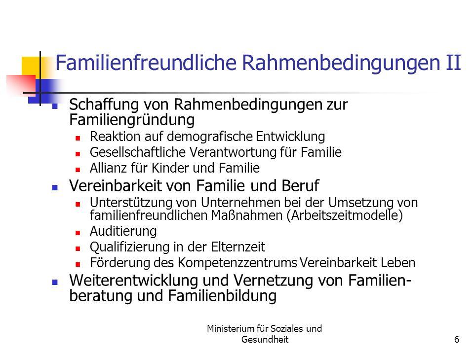 Ministerium für Soziales und Gesundheit6 Familienfreundliche Rahmenbedingungen II Schaffung von Rahmenbedingungen zur Familiengründung Reaktion auf de