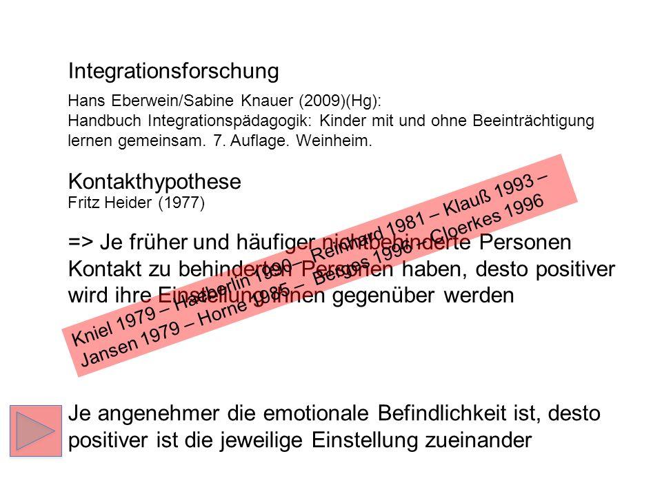 Integrationsforschung Hans Eberwein/Sabine Knauer (2009)(Hg): Handbuch Integrationspädagogik: Kinder mit und ohne Beeinträchtigung lernen gemeinsam. 7