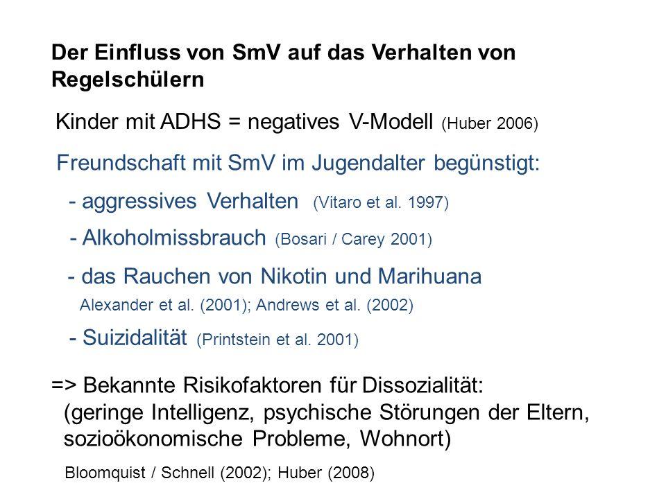 Der Einfluss von SmV auf das Verhalten von Regelschülern Kinder mit ADHS = negatives V-Modell (Huber 2006) => Bekannte Risikofaktoren für Dissozialitä