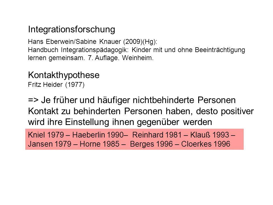 Integrationsforschung Hans Eberwein/Sabine Knauer (2009)(Hg): Handbuch Integrationspädagogik: Kinder mit und ohne Beeinträchtigung lernen gemeinsam.