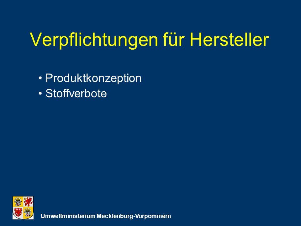 Verpflichtungen für Hersteller Umweltministerium Mecklenburg-Vorpommern Produktkonzeption Stoffverbote