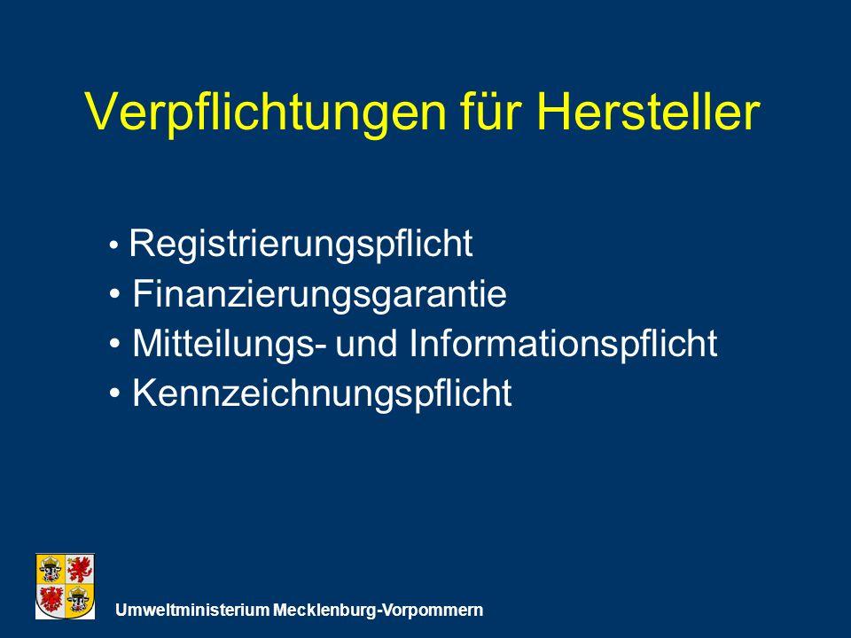 Verpflichtungen für Hersteller Umweltministerium Mecklenburg-Vorpommern Registrierungspflicht Finanzierungsgarantie Mitteilungs- und Informationspflicht Kennzeichnungspflicht