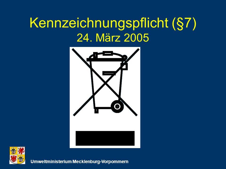 Kennzeichnungspflicht (§7) 24. März 2005 Umweltministerium Mecklenburg-Vorpommern