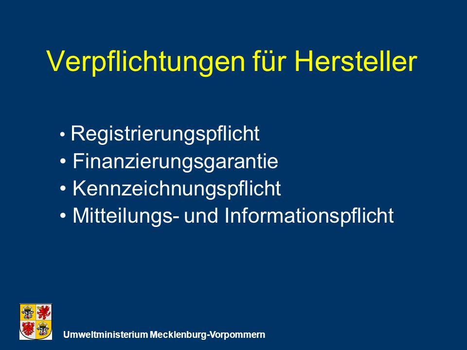 Verpflichtungen für Hersteller Umweltministerium Mecklenburg-Vorpommern Registrierungspflicht Finanzierungsgarantie Kennzeichnungspflicht Mitteilungs- und Informationspflicht