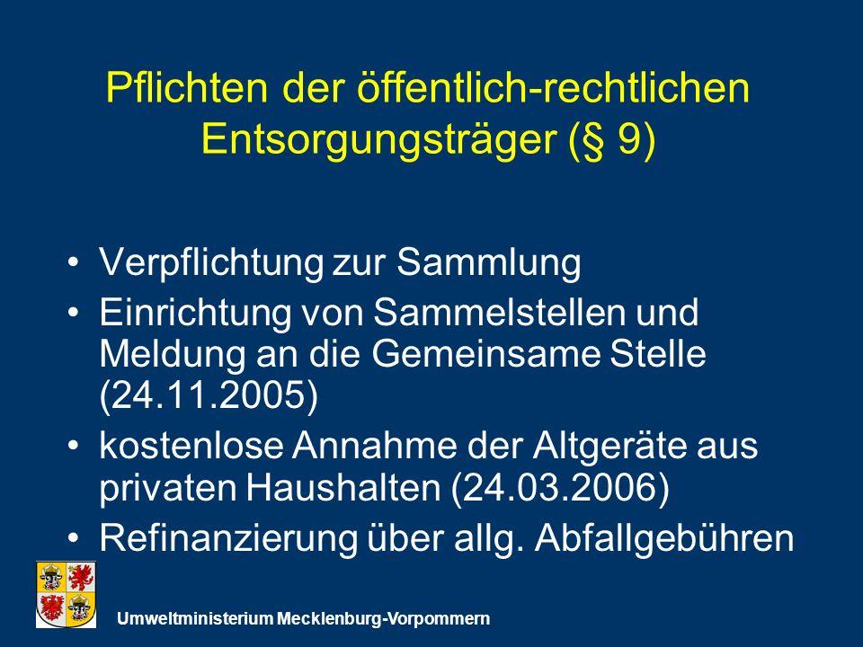 Pflichten der öffentlich-rechtlichen Entsorgungsträger (§ 9) Verpflichtung zur Sammlung Einrichtung von Sammelstellen und Meldung an die Gemeinsame Stelle (24.11.2005) kostenlose Annahme der Altgeräte aus privaten Haushalten (24.03.2006) Refinanzierung über allg.