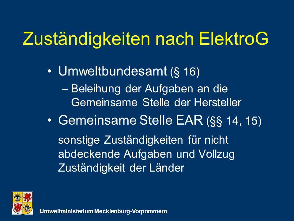 Zuständigkeiten nach ElektroG Umweltbundesamt (§ 16) –Beleihung der Aufgaben an die Gemeinsame Stelle der Hersteller Gemeinsame Stelle EAR (§§ 14, 15) sonstige Zuständigkeiten für nicht abdeckende Aufgaben und Vollzug Zuständigkeit der Länder Umweltministerium Mecklenburg-Vorpommern