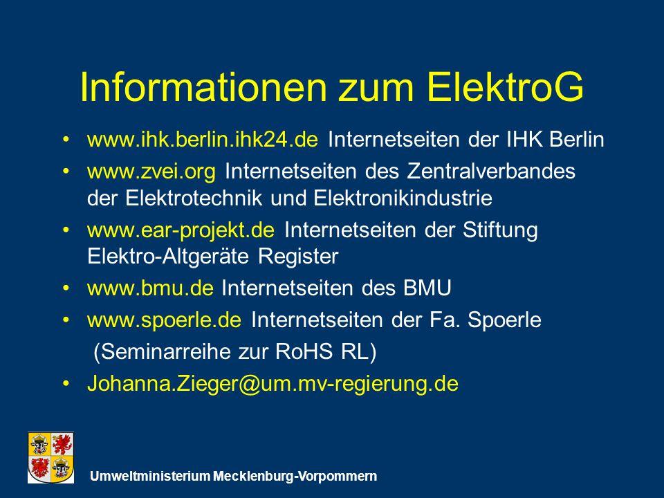 Informationen zum ElektroG www.ihk.berlin.ihk24.deInternetseiten der IHK Berlin www.zvei.org Internetseiten des Zentralverbandes der Elektrotechnik und Elektronikindustrie www.ear-projekt.de Internetseiten der Stiftung Elektro-Altgeräte Register www.bmu.de Internetseiten des BMU www.spoerle.de Internetseiten der Fa.
