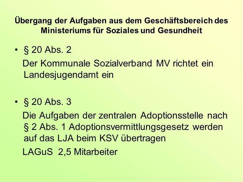 Übergang der Aufgaben aus dem Geschäftsbereich des Ministeriums für Soziales und Gesundheit § 20 Abs.