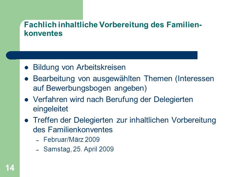 14 Fachlich inhaltliche Vorbereitung des Familien- konventes Bildung von Arbeitskreisen Bearbeitung von ausgewählten Themen (Interessen auf Bewerbungs