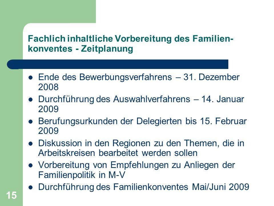 15 Fachlich inhaltliche Vorbereitung des Familien- konventes - Zeitplanung Ende des Bewerbungsverfahrens – 31. Dezember 2008 Durchführung des Auswahlv