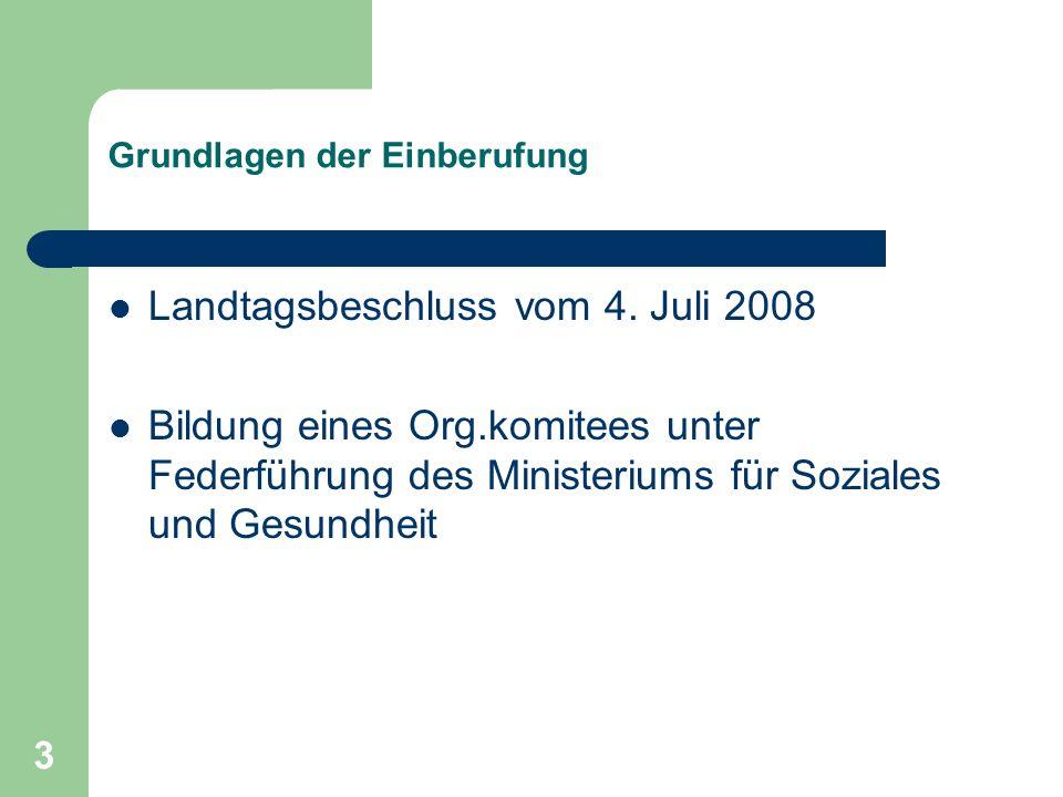 3 Grundlagen der Einberufung Landtagsbeschluss vom 4. Juli 2008 Bildung eines Org.komitees unter Federführung des Ministeriums für Soziales und Gesund