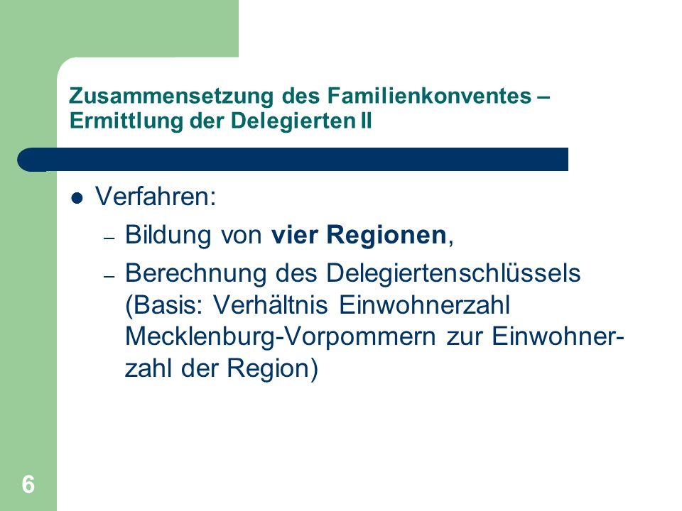 6 Zusammensetzung des Familienkonventes – Ermittlung der Delegierten II Verfahren: – Bildung von vier Regionen, – Berechnung des Delegiertenschlüssels