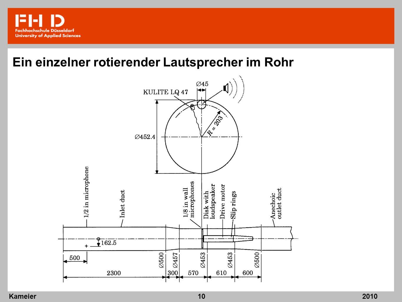 2010 Kameier10 Ein einzelner rotierender Lautsprecher im Rohr
