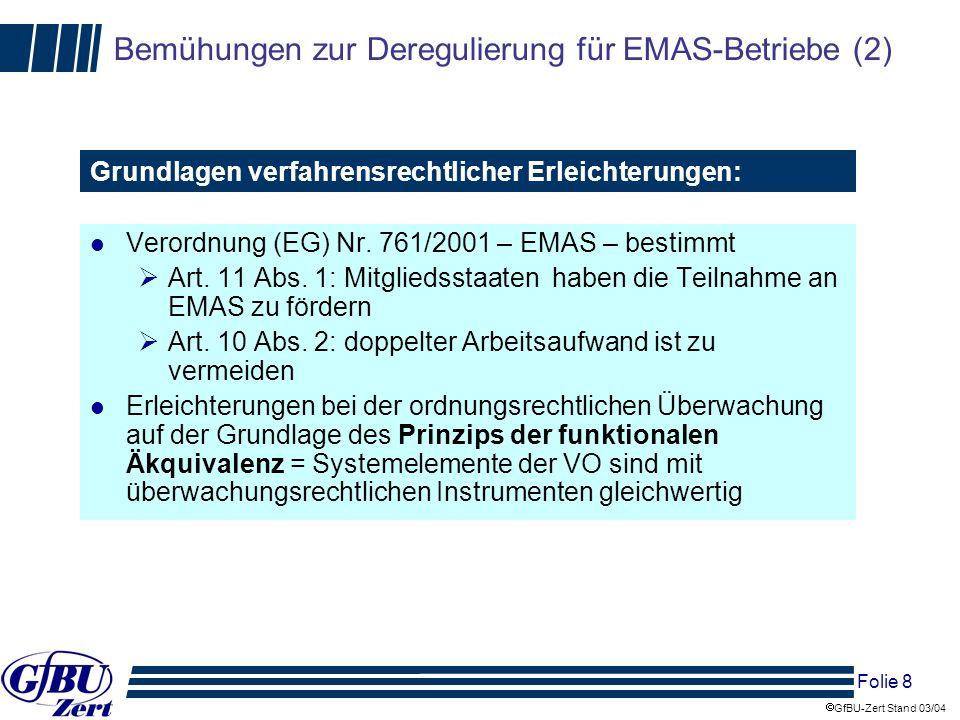 Folie 9 GfBU-Zert Stand 03/04 Bemühungen zur Deregulierung für EMAS-Betriebe (3) l NachwV Berücksichtigung der Angaben der Umwelterklärung durch Behörde (§ 5 Abs.