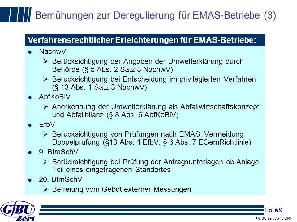 Folie 10 GfBU-Zert Stand 03/04 Bemühungen zur Deregulierung für EMAS-Betriebe (4) Verfahrensrechtlicher Erleichterungen durch EMAS-Privilegierungs-VO: § 2 Verzicht auf Anzeige- und Mitteilungspflichten zur Betriebsorganisation nach §52a BImSchG § 3 (1) Verzicht auf Immissionsschutz-, Störfall- und Abfallbeauftragten bei EMAS-Anlage oder bei Entsorgungsfachbetrieb (!) § 3 (2) Verzicht auf Jahresbericht des Immissionsschutz-, Störfall- und Abfallbeauftragten § 4 Ermittlungen von Emissionen bei genehmigungsbedürftigen Anlagen – Fristverlängerung und mit eigenem Personal § 5 Gestattung wiederkehrende Messungen, Funktionsprüfungen mit eigenem Personal bei LHKW- Anlagen, Verbrennungsanlagen, Großfeuerungsanlagen, Tanklager, Tankstellen für Ottokraftstoffe § 6 Gestattung sicherheitstechnische Prüfungen nach § 29a BImSchG mit eigenem Personal § 7 keine zwingende Vorlage der Berichte nach 2.