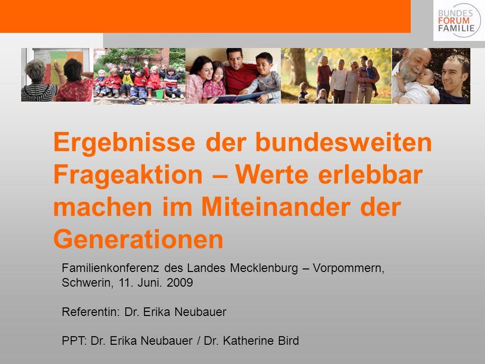 Familienkonferenz des Landes Mecklenburg – Vorpommern, Schwerin, 11. Juni. 2009 Referentin: Dr. Erika Neubauer PPT: Dr. Erika Neubauer / Dr. Katherine