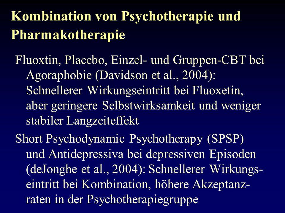 Kombination von Psychotherapie und Pharmakotherapie: Konsequenzen -Risiko der Herabsetzung der Selbstwirksamkeit .