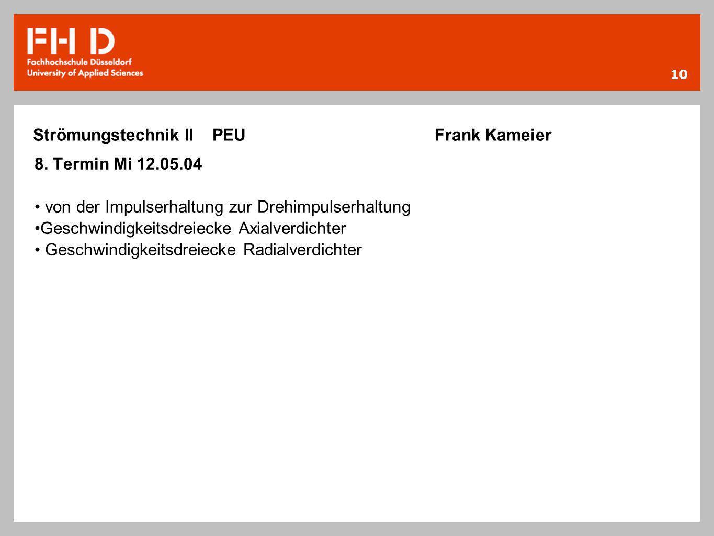 10 Strömungstechnik II PEU Frank Kameier 8. Termin Mi 12.05.04 von der Impulserhaltung zur Drehimpulserhaltung Geschwindigkeitsdreiecke Axialverdichte