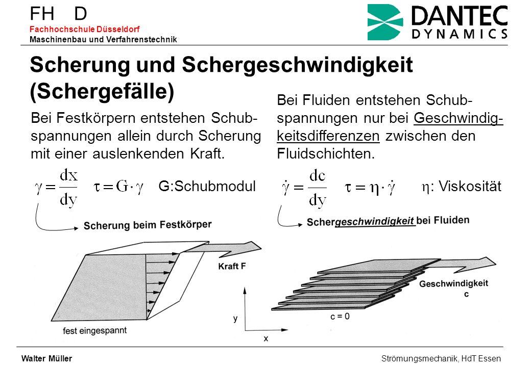FH D Fachhochschule Düsseldorf Maschinenbau und Verfahrenstechnik Scherung und Schergeschwindigkeit (Schergefälle) Bei Festkörpern entstehen Schub- sp