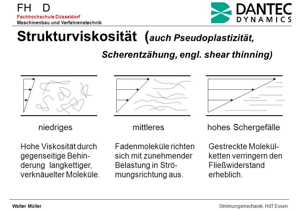FH D Fachhochschule Düsseldorf Maschinenbau und Verfahrenstechnik Strukturviskosität ( auch Pseudoplastizität, Scherentzähung, engl. shear thinning) n