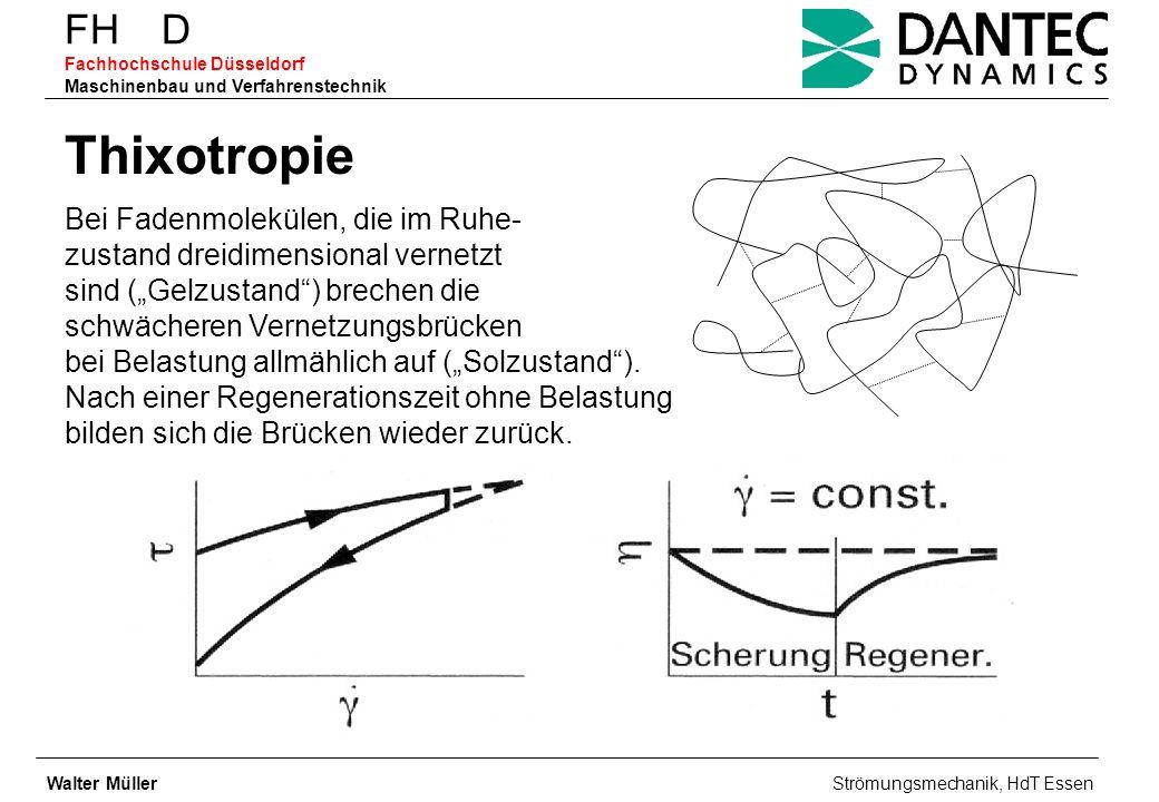 FH D Fachhochschule Düsseldorf Maschinenbau und Verfahrenstechnik Thixotropie Bei Fadenmolekülen, die im Ruhe- zustand dreidimensional vernetzt sind (