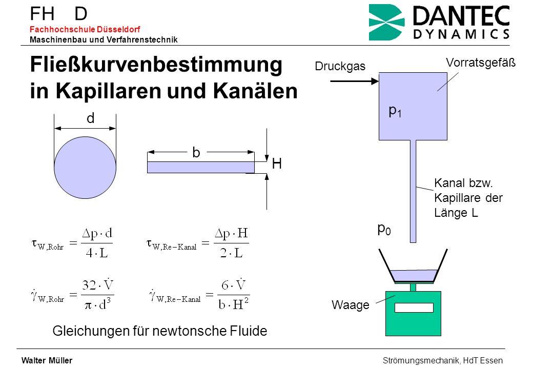 FH D Fachhochschule Düsseldorf Maschinenbau und Verfahrenstechnik Fließkurvenbestimmung in Kapillaren und Kanälen b H d Gleichungen für newtonsche Flu