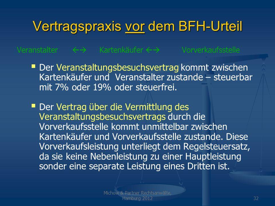 Michow & Partner Rechtsanwälte, Hamburg 201232 Vertragspraxis vor dem BFH-Urteil Veranstalter Kartenkäufer Vorverkaufsstelle Der Veranstaltungsbesuchs