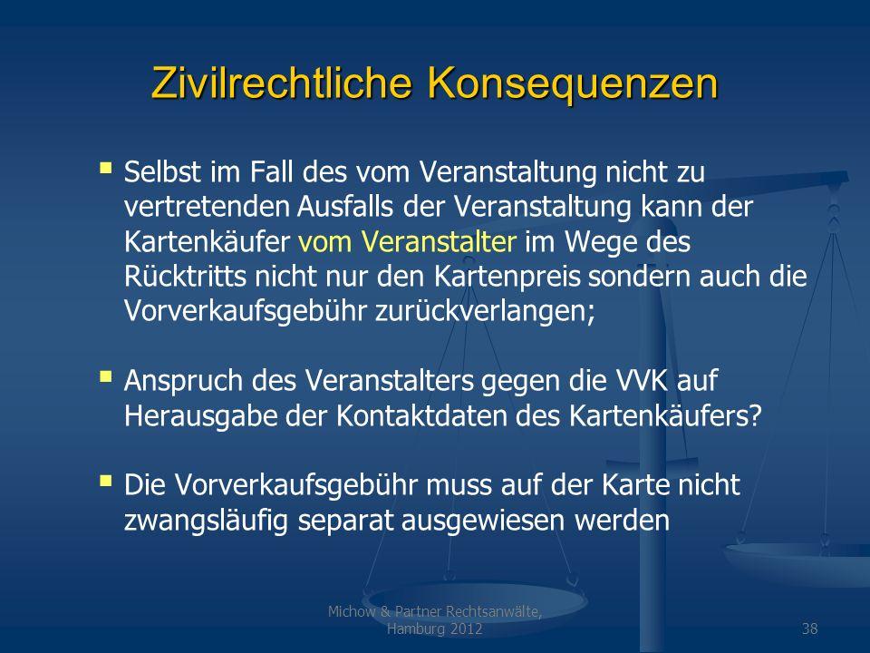 Michow & Partner Rechtsanwälte, Hamburg 201238 Zivilrechtliche Konsequenzen Selbst im Fall des vom Veranstaltung nicht zu vertretenden Ausfalls der Ve