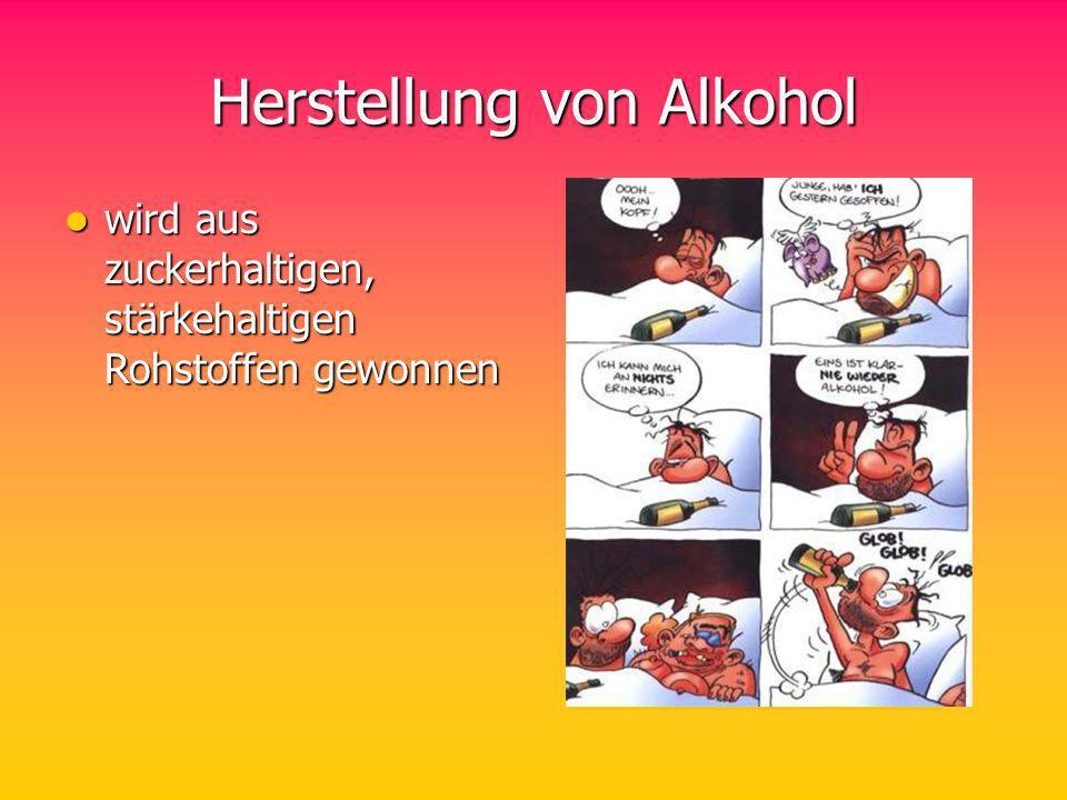 Herstellung von Alkohol wird aus zuckerhaltigen, stärkehaltigen Rohstoffen gewonnen wird aus zuckerhaltigen, stärkehaltigen Rohstoffen gewonnen