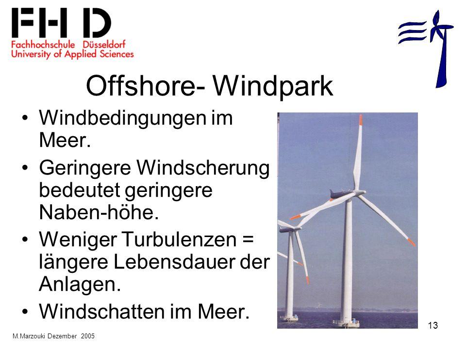 13 Offshore- Windpark Windbedingungen im Meer. Geringere Windscherung bedeutet geringere Naben-höhe. Weniger Turbulenzen = längere Lebensdauer der Anl