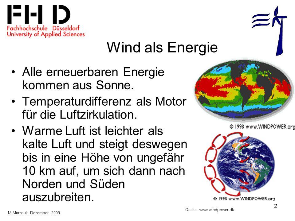 2 Wind als Energie Alle erneuerbaren Energie kommen aus Sonne. Temperaturdifferenz als Motor für die Luftzirkulation. Warme Luft ist leichter als kalt