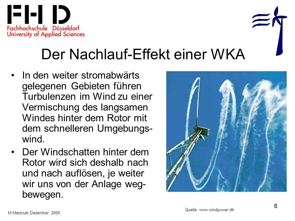 6 Der Nachlauf-Effekt einer WKA In den weiter stromabwärts gelegenen Gebieten führen Turbulenzen im Wind zu einer Vermischung des langsamen Windes hin