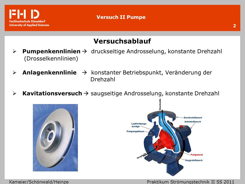 Versuch II Pumpe Kameier/Schönwald/Heinze Praktikum Strömungstechnik II SS 2011 Versuchsablauf 2 Pumpenkennlinien druckseitige Androsselung, konstante