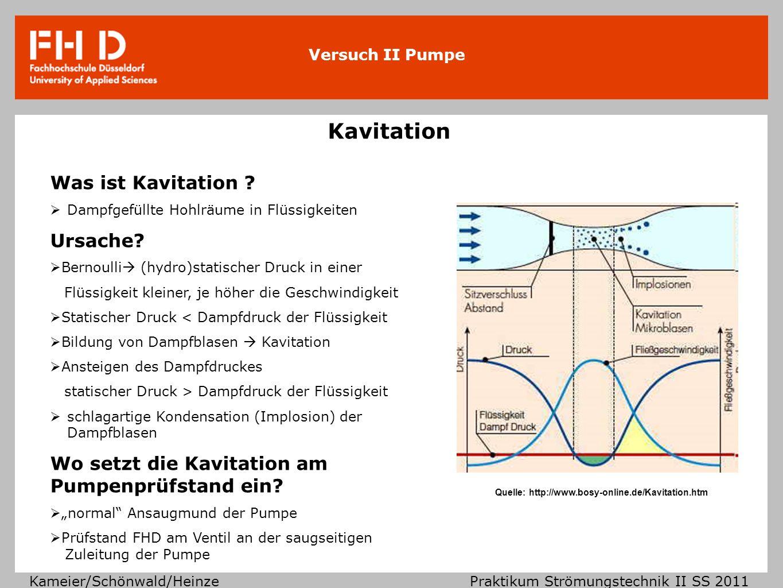 Versuch II Pumpe Kameier/Schönwald/Heinze Praktikum Strömungstechnik II SS 2011 Es gibt drei verschiedene Definitionen von NSPH-Werten: NPSH-Wert NPSH-Wert Wert der Pumpe bevor es zur Kavitation kommt NPSH vorh -Wert / NPSH A NPSH vorh -Wert / NPSH A Wert der Pumpe bevor es zur Kavitation kommt im eingebauten Zustand, d.h.