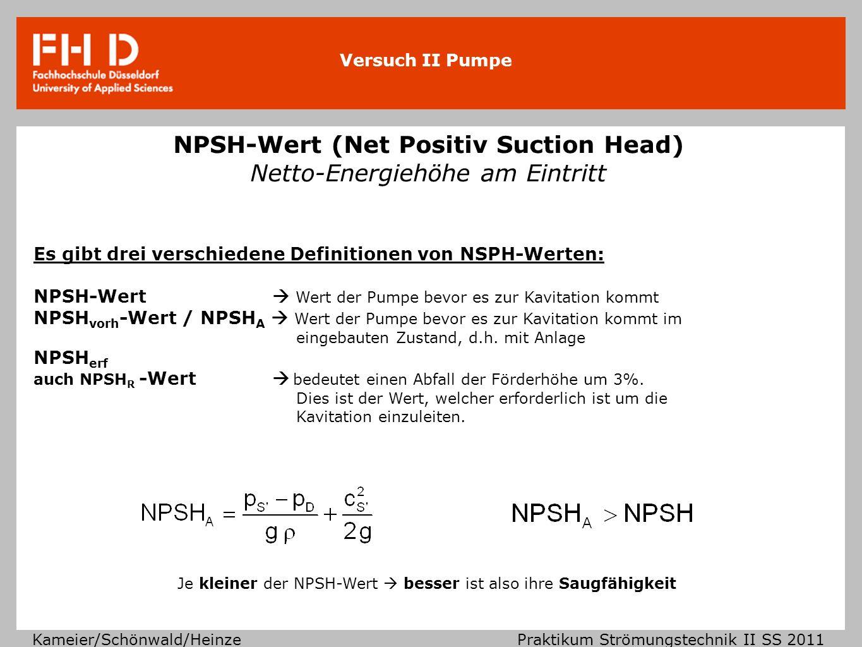 Versuch II Pumpe Kameier/Schönwald/Heinze Praktikum Strömungstechnik II SS 2011 NPSH-Wert im Zusammenhang mit verschiedenen Volumenströmen Je höher der geförderte Volumenstrom desto größer ist die Geschwindigkeit in der Rohrleitung und desto eher besteht die Gefahr der Kavitation.
