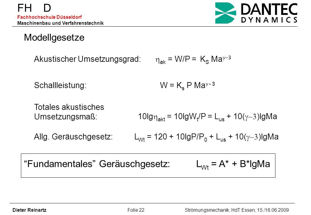 FH D Fachhochschule Düsseldorf Maschinenbau und Verfahrenstechnik Dieter Reinartz Folie 22 Strömungsmechanik, HdT Essen, 15./16.06.2009 Modellgesetze