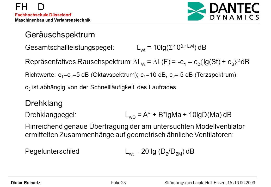 FH D Fachhochschule Düsseldorf Maschinenbau und Verfahrenstechnik Dieter Reinartz Folie 23 Strömungsmechanik, HdT Essen, 15./16.06.2009 FH D Fachhochs