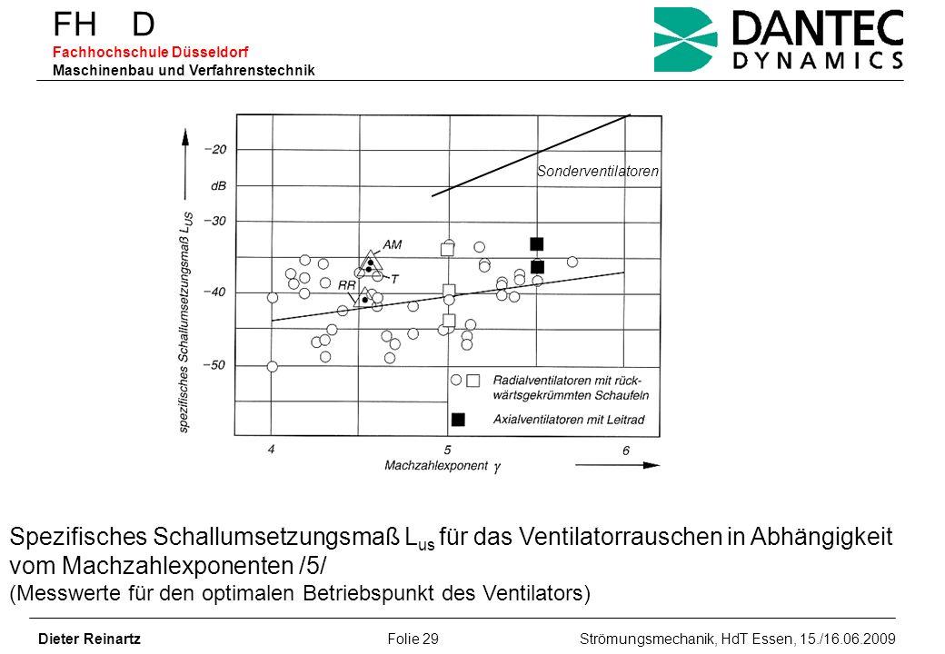 FH D Fachhochschule Düsseldorf Maschinenbau und Verfahrenstechnik Dieter Reinartz Folie 29 Strömungsmechanik, HdT Essen, 15./16.06.2009 Spezifisches S