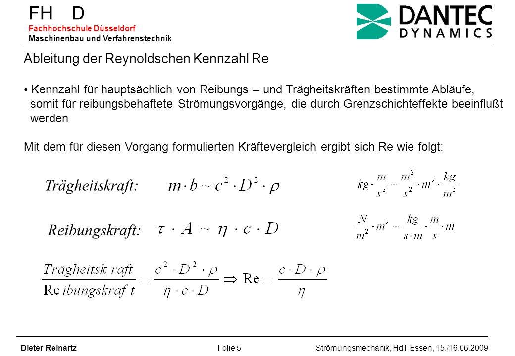 FH D Fachhochschule Düsseldorf Maschinenbau und Verfahrenstechnik Dieter Reinartz Folie 5 Strömungsmechanik, HdT Essen, 15./16.06.2009 Ableitung der R