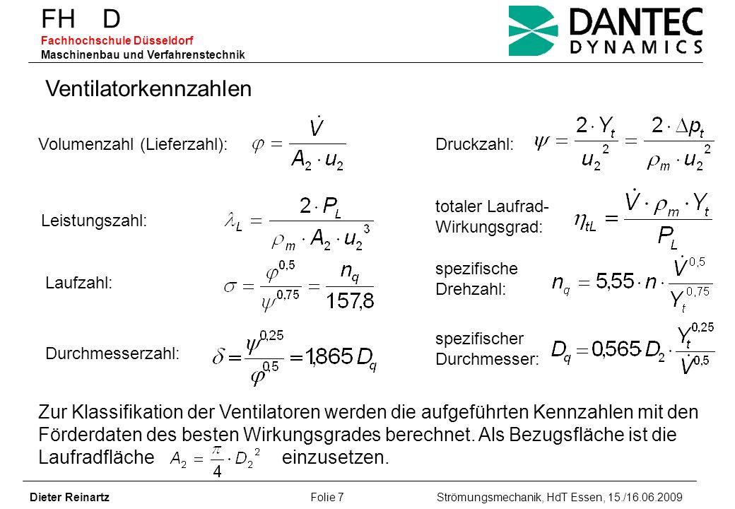FH D Fachhochschule Düsseldorf Maschinenbau und Verfahrenstechnik Dieter Reinartz Folie 28 Strömungsmechanik, HdT Essen, 15./16.06.2009 Rauschkennlinien eines Radialventilators /5/ (D 2 =722 mm, D 1 /D 2 =0,44, z=10, ß 1 =31°) Laufrad 1: ß 2 =41°, ψ=1,2, η=0,86 L B =193,7 dB, L gs =-14,1 dB, L us =-43,3 dB Laufrad 2: ß 2 =90°, ψ=1,38, η=0,77 L B =193,7 dB, L gs =-13,4 dB, L us =-32,2 dB