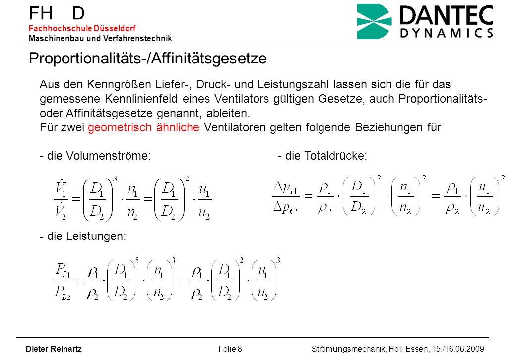 FH D Fachhochschule Düsseldorf Maschinenbau und Verfahrenstechnik Dieter Reinartz Folie 8 Strömungsmechanik, HdT Essen, 15./16.06.2009 Proportionalitä