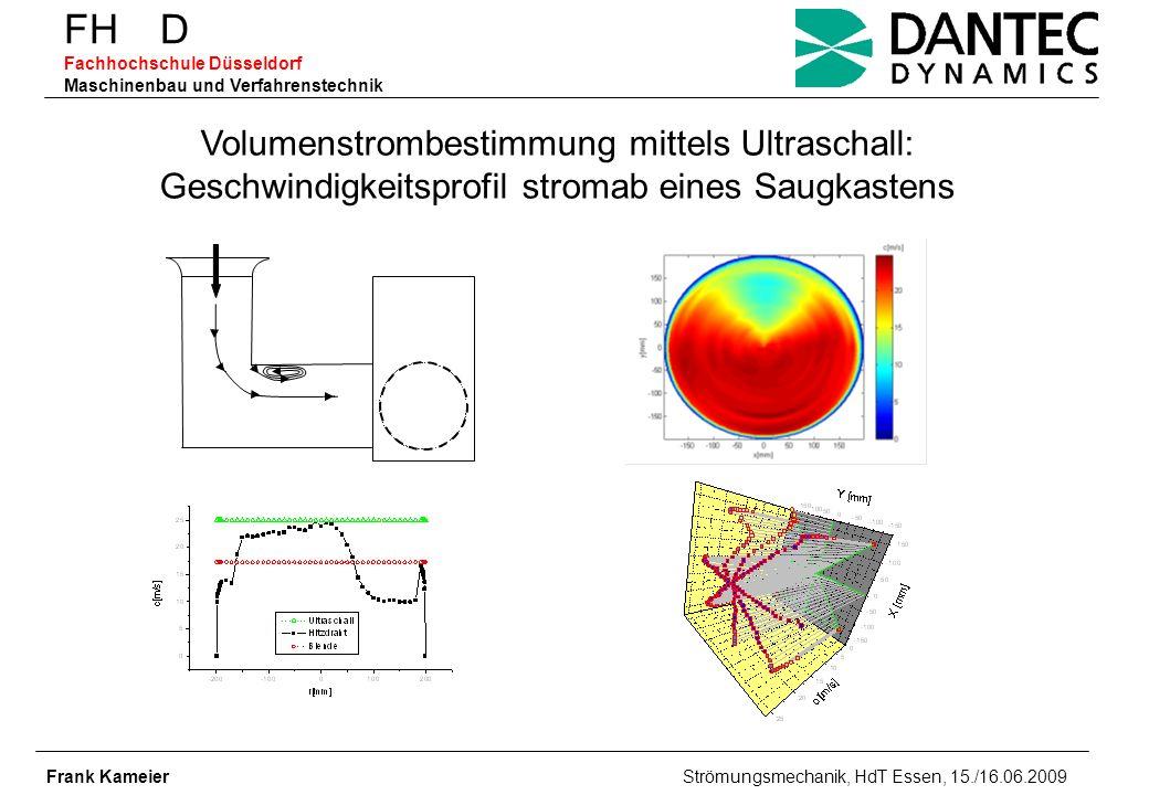 FH D Fachhochschule Düsseldorf Maschinenbau und Verfahrenstechnik Frank Kameier Strömungsmechanik, HdT Essen, 15./16.06.2009 Volumenstrombestimmung mi