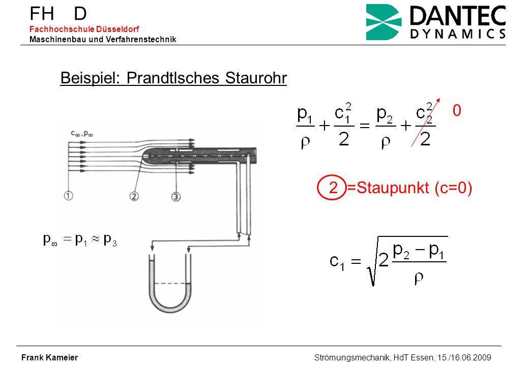 FH D Fachhochschule Düsseldorf Maschinenbau und Verfahrenstechnik Frank Kameier Strömungsmechanik, HdT Essen, 15./16.06.2009 Beispiel: Prandtlsches St