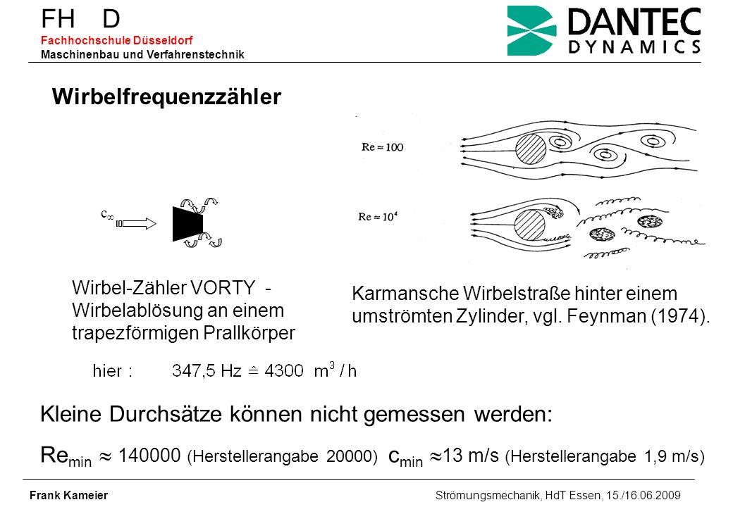 FH D Fachhochschule Düsseldorf Maschinenbau und Verfahrenstechnik Frank Kameier Strömungsmechanik, HdT Essen, 15./16.06.2009 Wirbelfrequenzzähler Wirb
