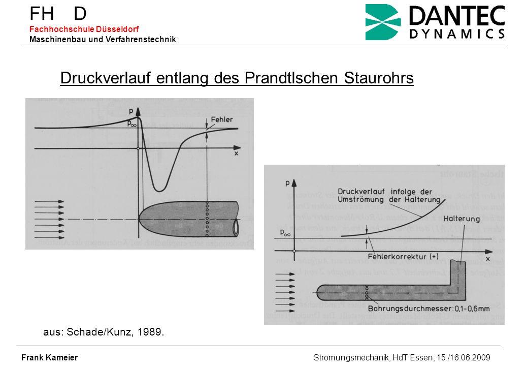 FH D Fachhochschule Düsseldorf Maschinenbau und Verfahrenstechnik Frank Kameier Strömungsmechanik, HdT Essen, 15./16.06.2009 Druckverlauf entlang des