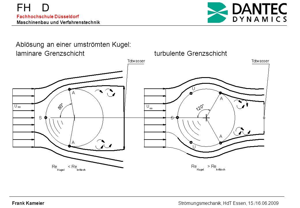 FH D Fachhochschule Düsseldorf Maschinenbau und Verfahrenstechnik Frank Kameier Strömungsmechanik, HdT Essen, 15./16.06.2009 Vergleich HalbkugelKegelstumpf { Ablösebereich 10°fester Ablösepunkt