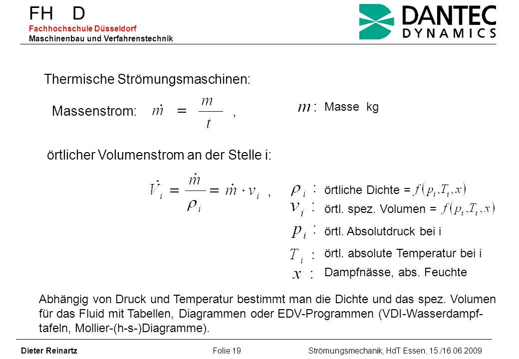 FH D Fachhochschule Düsseldorf Maschinenbau und Verfahrenstechnik Dieter Reinartz Folie 19 Strömungsmechanik, HdT Essen, 15./16.06.2009 Thermische Str