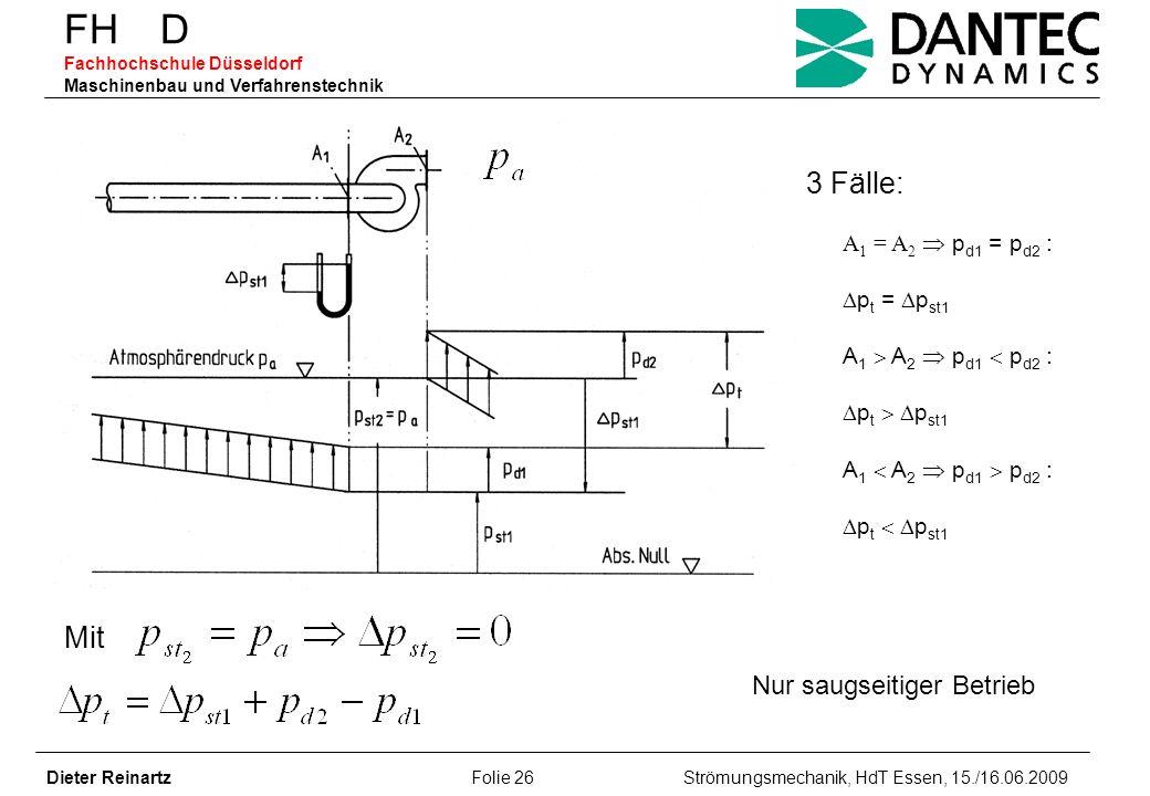 FH D Fachhochschule Düsseldorf Maschinenbau und Verfahrenstechnik Dieter Reinartz Folie 26 Strömungsmechanik, HdT Essen, 15./16.06.2009 A 1 = A 2 p d1